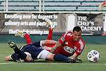 09 July 2014: Dallas' Blas Perez (PAN) (right) and Carolina's Daniel Scott (left) get tangled up in the penalty area. The Carolina RailHawks of the North American Soccer League played FC Dallas of Major League Soccer at WakeMed Stadium in Cary, North Carolina in the quarterfinals of the 2014 Lamar Hunt U.S. Open Cup soccer tournament. FC Dallas won the game 5-2.
