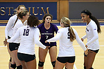 DURHAM, NC - SEPTEMBER 01: Northwestern's Lexi Pitsas (7) huddles with teammates. The Northwestern University Wildcats played the University of South Carolina Gamecocks on September 1, 2017 at Cameron Indoor Stadium in Durham, NC in a Division I women's college volleyball match. Northwestern won 3-1 (13-25, 25-18, 25-18, 25-19).