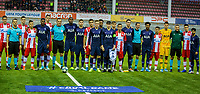 6th November 2019; Vozdovac Stadium, Belgrade, Serbia; UEFA Under 19 UEFA Youth league football, FK Crvena Zvezda under 19s versus Tottenham Hotspur under 19s; The players of Tottenham Hotspur and of FK Crvena Zvezda line up