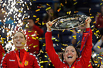 BELGRADE, SERBIA - DECEMBER 16: Jovanka Radicevic of Montenegro (R) lift a trophy during the Women's European Handball Championship 2012 medal ceremony at Arena Hall on December 16, 2012 in Belgrade, Serbia. (Photo by Srdjan Stevanovic/Getty Images)