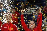 BELGRADE, SERBIA - DECEMBER 16: Jovanka Radicevic of Montenegro (R) lift a trophy during the Women's European Handball Championship 2012 medal ceremony at Arena Hall on December 16, 2012 in Belgrade, Serbia. (Photo by Srdjan Stevanovic/Getty Images)