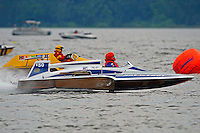 """Leo Croisetiere, E-50 """"Hot To Trot"""" (1986 Karelson 5 Litre class hydroplane) and Harry Holst, E-160 """"Heatwave"""" (1960's Whiteman 280 class cabover hydroplane)"""
