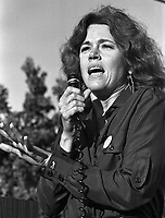 Actress Jane Fonda speaking at a Strike rally in Union City, Ca against Rylock Co. Nov 1, 1977. (photo by Ron Riesterer)