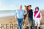 L-R Raymond Sugrue, Dylan Fitzgerald and Ava Sugrue pictured at Stradbally Strand last Monday evening ahead of next Sundays Castlegregory horse and Pony racing.