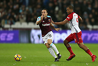 West Ham United's Mark Noble and West Bromwich Albion's Jose Salomon Rondon<br /> <br /> Photographer Rob Newell/CameraSport<br /> <br /> The Premier League - West Ham United v West Bromwich Albion - Tuesday 2nd January 2018 - London Stadium - London<br /> <br /> World Copyright &copy; 2018 CameraSport. All rights reserved. 43 Linden Ave. Countesthorpe. Leicester. England. LE8 5PG - Tel: +44 (0) 116 277 4147 - admin@camerasport.com - www.camerasport.com