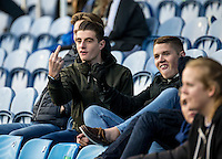 Pompey fan directs his finger to the Chairboys fans during the FA Cup 1st round match between Portsmouth and Wycombe Wanderers at Fratton Park, Portsmouth, England on the 5th November 2016. Photo by Liam McAvoy.