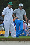 AUGUSTA, GA - APRIL 12: Rory McIlroy of Ireland talks with his caddie during the Second Round of the 2013 Masters Golf Tournament at Augusta National Golf Club on April 10in Augusta, Georgia. (Photo by Donald Miralle) *** Local Caption ***