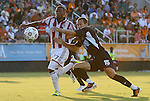 05 June 2012: Chivas USA's Jose Erick Correa (COL) (27) is defended by Carolina's Austen King (15). The Carolina RailHawks (NASL) lost 1-2 to Club Deportivo Chivas USA (MLS) at WakeMed Soccer Stadium in Cary, NC in a 2012 Lamar Hunt U.S. Open Cup fourth round game.