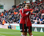 Harry Chapman of Sheffield United celebrates scoring with his team mates during the Emirates FA Cup Round One match at Bramall Lane Stadium, Sheffield. Picture date: November 6th, 2016. Pic Simon Bellis/Sportimage
