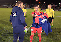 Boyds, MD - Friday Sept. 30, 2016: Josh Brunais, Ali Krieger prior to a National Women's Soccer League (NWSL) semi-finals match between the Washington Spirit and the Chicago Red Stars at Maureen Hendricks Field, Maryland SoccerPlex. The Washington Spirit won 2-1 in overtime.