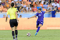 Houston, TX - Saturday June 17, 2017: Monica Hickmann Alves passes the ball during a regular season National Women's Soccer League (NWSL) match between the Houston Dash and the Orlando Pride at BBVA Compass Stadium.