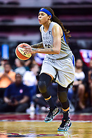 Washington, DC - May 27, 2018: Minnesota Lynx guard Seimone Augustus (33) brings the ball up court during game between the Mystics and Lynx at the Capital One Arena in Washington, DC. (Photo by Phil Peters/Media Images International)