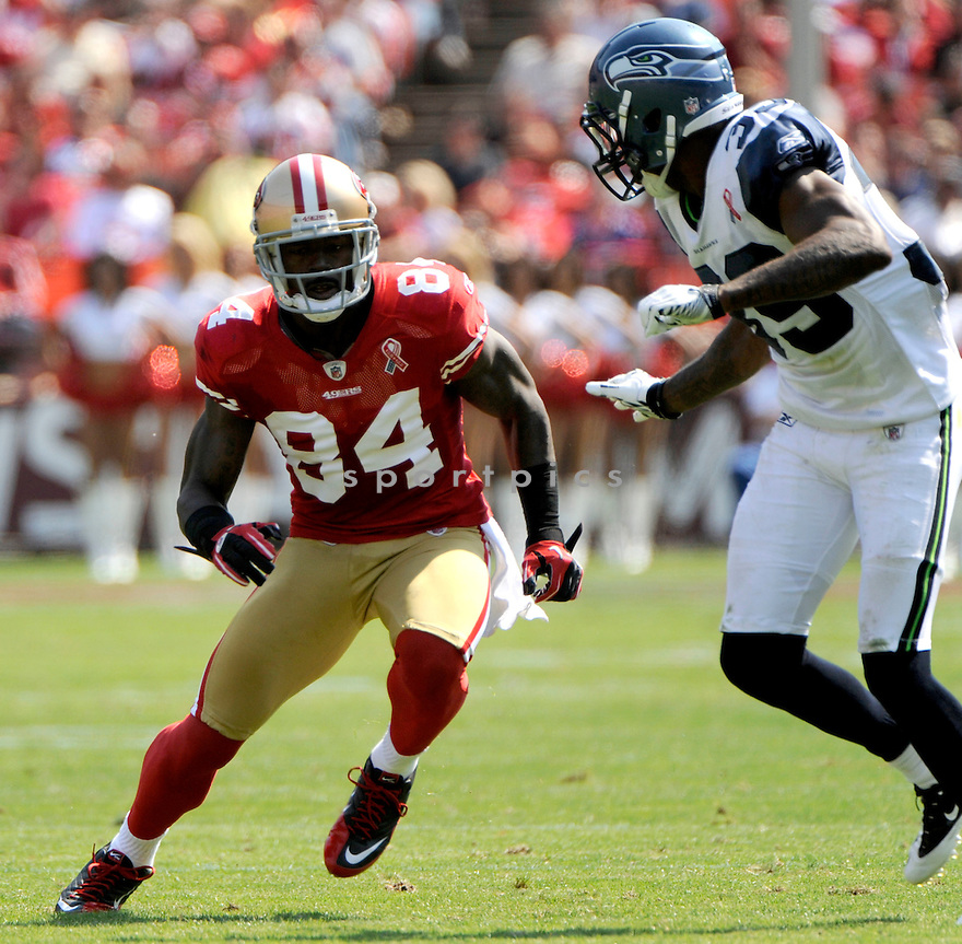 JOSHUA MORGAN, of the San Francisco 49ers, in action during the 49ers game against the Seattle Seahawks on September 11, 2011 at Candlestick Park in San Francisco, CA. The 49ers beat the Seahawks 33-17.