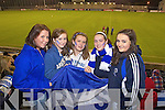 Susan O'Connor, Ciara Walsh, Aine Walsh, Amy Nolan and Grainne Bergen Castleisland Desmonds fans at the Celebrity Bainisteoir final at Parnell park on Friday night.