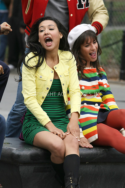 "WWW.ACEPIXS.COM . . . . .  ....April 29 2011, New York City....Naya Rivera and Lea Michele on the set of the hot TV show ""Glee"" in Washington Square Park on April 29 2011 in New York City....Please byline: PHILIP VAUGHAN - ACE PICTURES.... *** ***..Ace Pictures, Inc:  ..Philip Vaughan (212) 243-8787 or (646) 679 0430..e-mail: info@acepixs.com..web: http://www.acepixs.com"