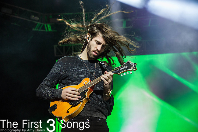 Daniel Wayne Sermon of Imagine Dragons performs at White River State Park in Indianapolis, Indiana.