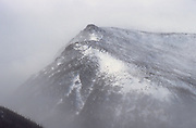 Lion Head in Tuckerman Ravine on the eastern slope of Mount Washington during whiteout conditions in the White Mountains, New Hampshire USA.
