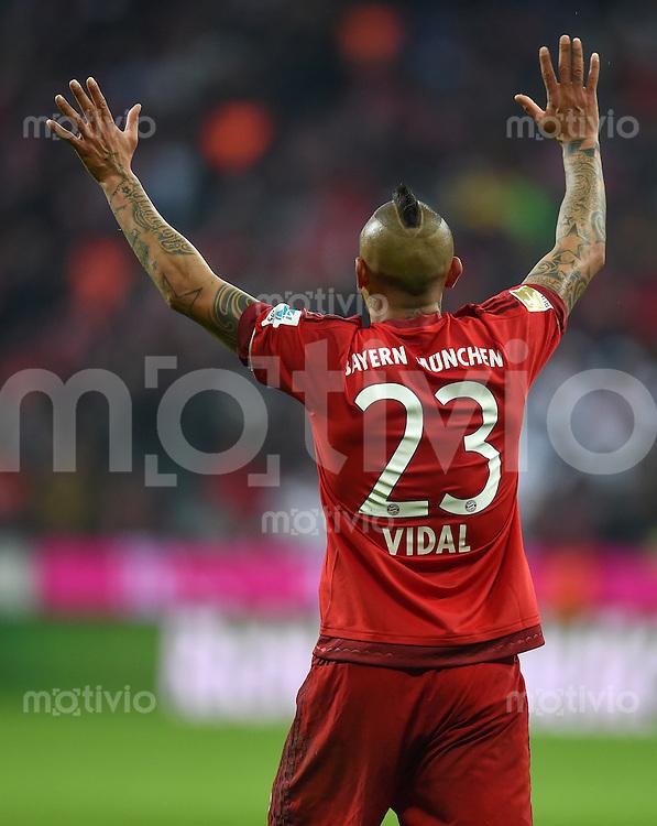 FUSSBALL  1. BUNDESLIGA  SAISON 2015/2016  24. SPIELTAG FC Bayern Muenchen - 1. FSV Mainz 05       02.03.2016 Arturo Vidal (FC Bayern Muenchen)
