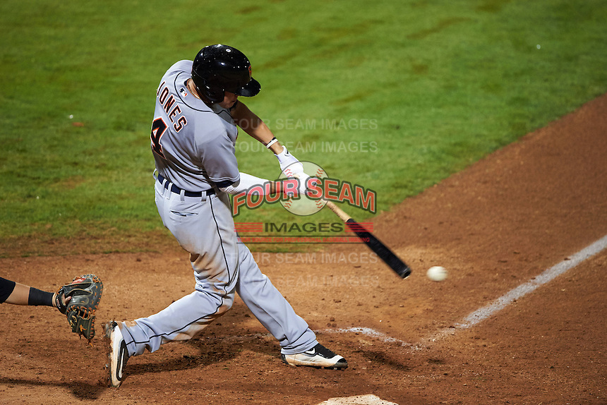 Scottsdale Scorpions shortstop JaCoby Jones (4) at bat during an Arizona Fall League game against the Peoria Javelinas on October 24, 2015 at Peoria Stadium in Peoria, Arizona.  Peoria defeated Scottsdale 3-1.  (Mike Janes/Four Seam Images)