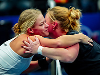Alphen aan den Rijn, Netherlands, December 15, 2018, Tennispark Nieuwe Sloot, Ned. Loterij NK Tennis, Womans wheelchair final : Winner Dide de Groot (NED) is congratulated by Aniek van Koot (NED) (R)<br />