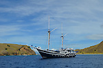 The MSY Seahorse dive vessel, constructed in traditional Indonesian design, taken in Komodo National Park