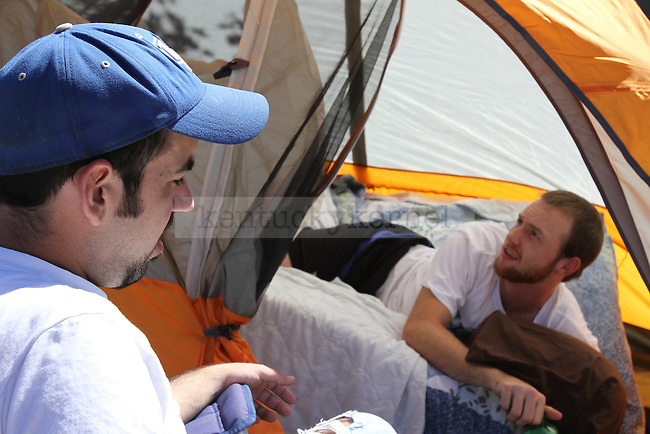 Wildcat fans chat while camping outside Memorial Coliseum for Big Blue Madness tickets at University of Kentucky on Wednesday, Sept. 19, 2012. Photo by Kirsten Holliday | Staff