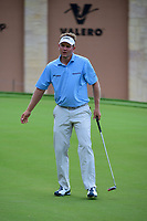 Billy Hurley III (USA) reacts to barely missing his putt on 18  during round 1 of the Valero Texas Open, AT&amp;T Oaks Course, TPC San Antonio, San Antonio, Texas, USA. 4/20/2017.<br /> Picture: Golffile | Ken Murray<br /> <br /> <br /> All photo usage must carry mandatory copyright credit (&copy; Golffile | Ken Murray)