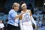 02 January 2015: UNC head coach Sylvia Hatchell (left) talks to Jessica Washington (24). The University of North Carolina Tar Heels hosted the East Tennessee State University Buccaneers at Carmichael Arena in Chapel Hill, North Carolina in a 2014-15 NCAA Division I Women's Basketball game. UNC won the game 95-62.