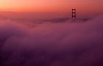 Golden Gate Bridge enveloped in thick fog at sunrise from Marin Hills above Bay, San Francisco, California USA  The Golden Gate connects San Francisco penninsula and Marin penninsula and is nearly two miles long,  San Francisco, California USA