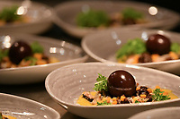 "Melbourne, Australia - February 16, 2018: The dish of ""Wild mushroom salad, oeuf Meurette, escargots, hazelnut vinaigrette"" at a tribute dinner for Paul Bocuse by Chef Philippe Mouchel at Restaurant Philippe in Melbourne, Australia. Photo Sydney Low"