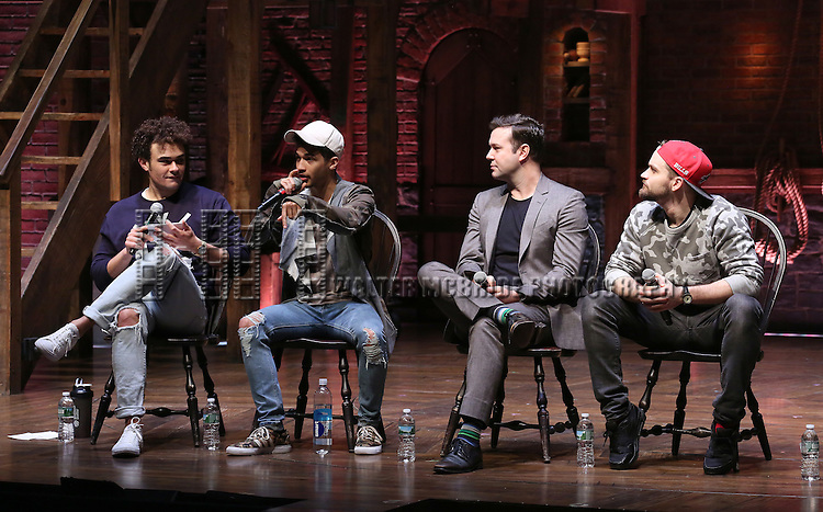 Andrew Chappelle, Jordan Fisher, Taran Killam, Neil Haskell greets students during a cast Q & A before The Rockefeller Foundation and The Gilder Lehrman Institute of American History sponsored High School student matinee performance of  'Hamilton' at the Richard Rodgers Theatre on 2/8/2017 in New York City.
