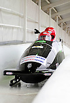 22 November 2009:  Wolfgang Stampfer, piloting the Austria 1 bobsled, leads his 4-man team to a 3rd place finish at the FIBT World Cup competition, in Lake Placid, New York, USA. Mandatory Credit: Ed Wolfstein Photo