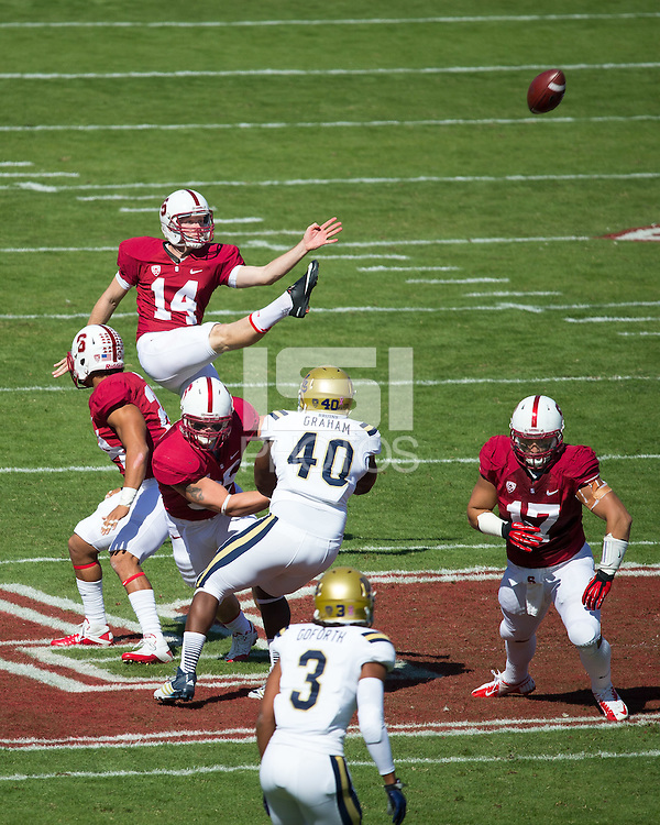 Stanford, CA -- October 19, 2013:  Stanford's Ben Rhyne during a game against UCLA at Stanford Stadium. Stanford defeated the Bruins 24-10.