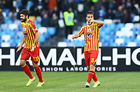 9th February 2020; Stadio San Paolo, Naples, Campania, Italy; Serie A Football, Napoli versus Lecce; Marco Mancosu of Lecce celebrates after scoring for 1-3  in minute 82