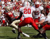 TALLAHASSEE, FL 10/31/09-FSU-NCST FB09 CH49-Florida State's Bert Reed spins into the endzone for the winning touchdown against N.C. State during second half action Saturday at Doak Campbell Stadium in Tallahassee. The Seminoles beat the Wolf Pack 45-42..COLIN HACKLEY PHOTO