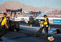 Nov 3, 2019; Las Vegas, NV, USA; NHRA top fuel driver Steve Torrence against Doug Kalitta who had his parachutes come out on burnout during the Dodge Nationals at The Strip at Las Vegas Motor Speedway. Mandatory Credit: Mark J. Rebilas-USA TODAY Sports