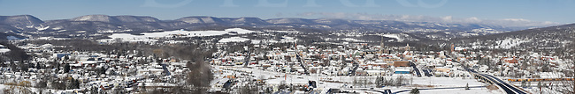 Hollidaysburg, PA, in a sunny clear winter panoramic picture shot from the Chimney Rocks overlook, showing the mountains and valley into the distance, Blair County, Pennsylvania, USA.