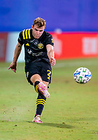 16th July 2020, Orlando, Florida, USA;  Columbus Crew defender Chris Cadden (2) shoots during the MLS Is Back Tournament between the Columbus Crew SC versus New York Red Bulls on July 16, 2020 at the ESPN Wide World of Sports, Orlando FL.