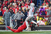 College Park, MD - NOV 12, 2016: Ohio State Buckeyes running back Curtis Samuel (4) almost brings in an acrobatic touchdown catch over Maryland Terrapins defensive back Alvin Hill (27) during game between Maryland and Ohio State at Capital One Field at Maryland Stadium in College Park, MD. (Photo by Phil Peters/Media Images International)