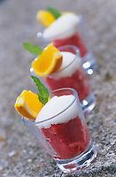 """Europe/Italie/Côte Amalfitaine/Campagnie/Sant'Agata Sui Due Golfi : Pré dessert sorbet fraise et citron - Recette d'Alfonso Iaccarino du restaurant """"Don Alfonso 1890"""""""