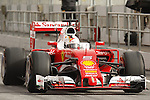 22.02.2016 Circuit Barcelona-Catalunya, Barcelona, Spain. Formula 1 test days. Picture show Sebatian Vettel driving Ferrari SF16-H
