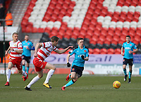 Ashley Hunter of Fleetwood Town wins the ball during the Sky Bet League 1 match between Doncaster Rovers and Fleetwood Town at the Keepmoat Stadium, Doncaster, England on 17 February 2018. Photo by Leila Coker / PRiME Media Images.