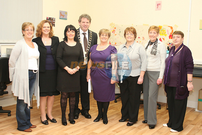 Committee Members, Stella Connors, Sarah McAllister, Mary Berrill, Bernie Cooney, Jacinta McEvoy and Pat Donaghey with Valerie Artherton of Drogheda Boro Council and Mayor Michael O'Dowd at the handing over of the Deeds for Yellowbatter Recreational Centre....Photo NEWSFILE/Jenny Matthews.(Photo credit should read Jenny Matthews/NEWSFILE)....This Picture has been sent you under the condtions enclosed by:.Newsfile Ltd..The Studio,.Millmount Abbey,.Drogheda,.Co Meath..Ireland..Tel: +353(0)41-9871240.Fax: +353(0)41-9871260.GSM: +353(0)86-2500958.email: pictures@newsfile.ie.www.newsfile.ie.FTP: 193.120.102.198.