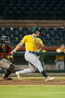 AZL Athletics first baseman Justin Jones (8) bats during a game against the AZL Giants on August 5, 2017 at Scottsdale Stadium in Scottsdale, Arizona. AZL Athletics defeated the AZL Giants 2-1. (Zachary Lucy/Four Seam Images)