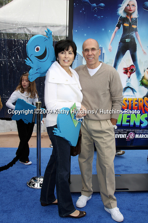 """Marilyn & Jeffrey Katzenberg arriving at the Los Angeles Premiere of """"Monsters Vs. Aliens"""" at Gibson Ampitheatre in Universal City, CA on  March 22,  2009 .©2009 Kathy Hutchins / Hutchins Photo...                ."""