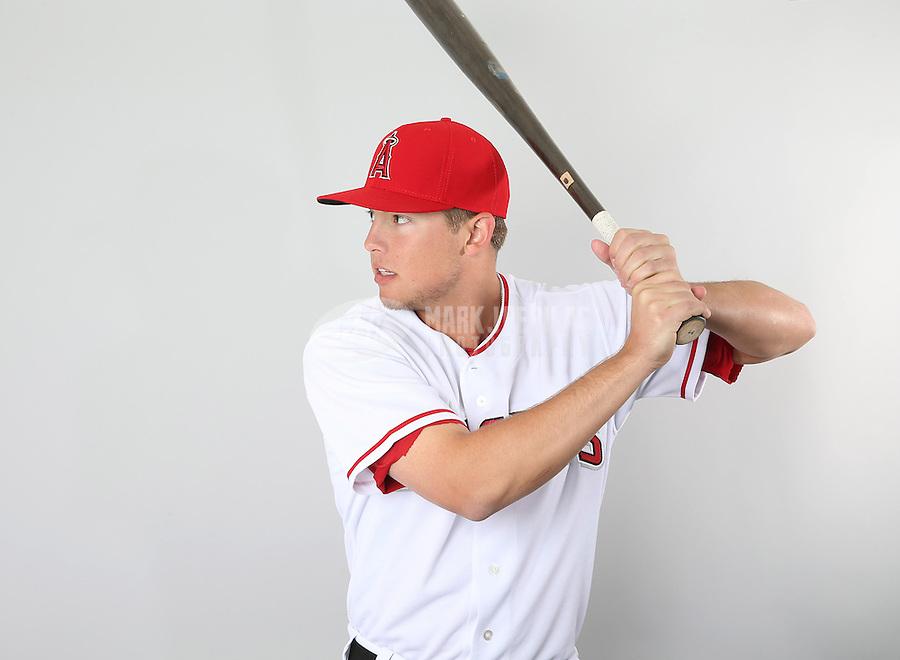 Feb. 21, 2013; Tempe, AZ, USA: Los Angeles Angels infielder Alex Yarbrough poses for a portrait during photo day at Tempe Diablo Stadium. Mandatory Credit: Mark J. Rebilas-