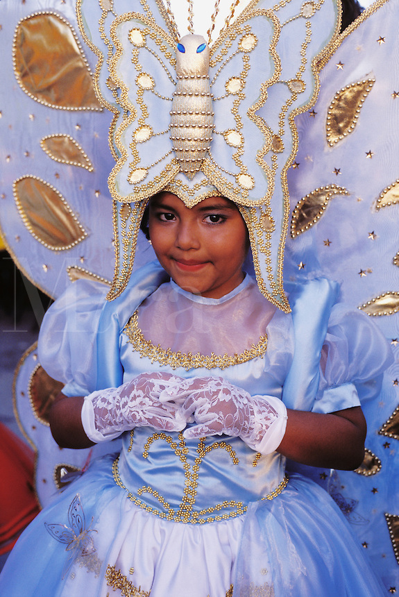 Mexico,Cozumel, Young girl dressed for the Rites of Spring celebration. .NO MODEL RELEAS