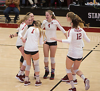 Stanford, CA - November 1, 2019: Kate Formico, Jenna Gray, Morgan Hentz, Meghan McClure, Holly Campbell, Audriana Fitzmorris at Maples Pavilion. The No. 5 Stanford Cardinal swept the Oregon State Beavers 3-0.