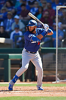 Edwin Rios (43) of the Los Angeles Dodgers at bat during a Cactus League Spring Training game against the Texas Rangers on March 8, 2020 at Surprise Stadium in Surprise, Arizona. Rangers defeated the Dodgers 9-8. (Tracy Proffitt/Four Seam Images)