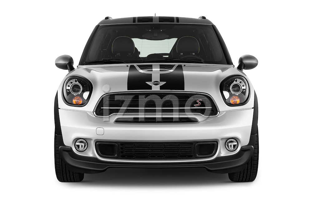 Car photography straight front view of a 2016 MINI Countryman Cooper-S 5 Door Hatchback Front View